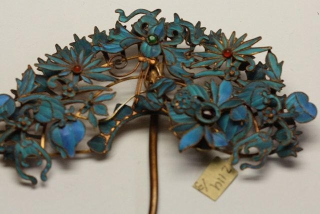 QING DYNASTY KINGFISHER FEATHER HAIR ORNAMENT - 8