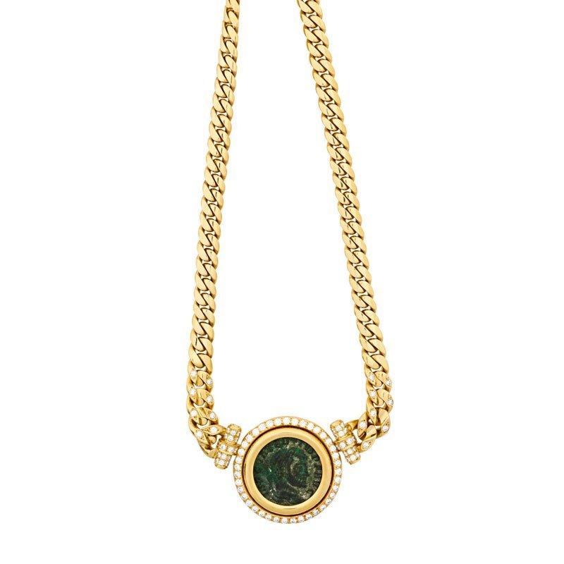 ITALIAN 18K GOLD, DIAMOND & ROMAN COIN NECKLACE