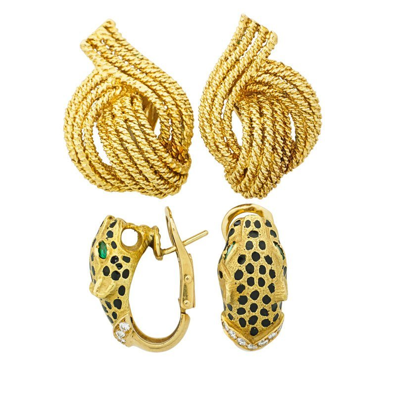 TWO PAIRS OF 18K GOLD EARRINGS INCLUDES DAVID WEBB
