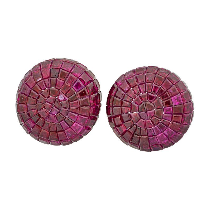 INVISIBLY SET RUBY & DIAMOND DROP EARRINGS - 2