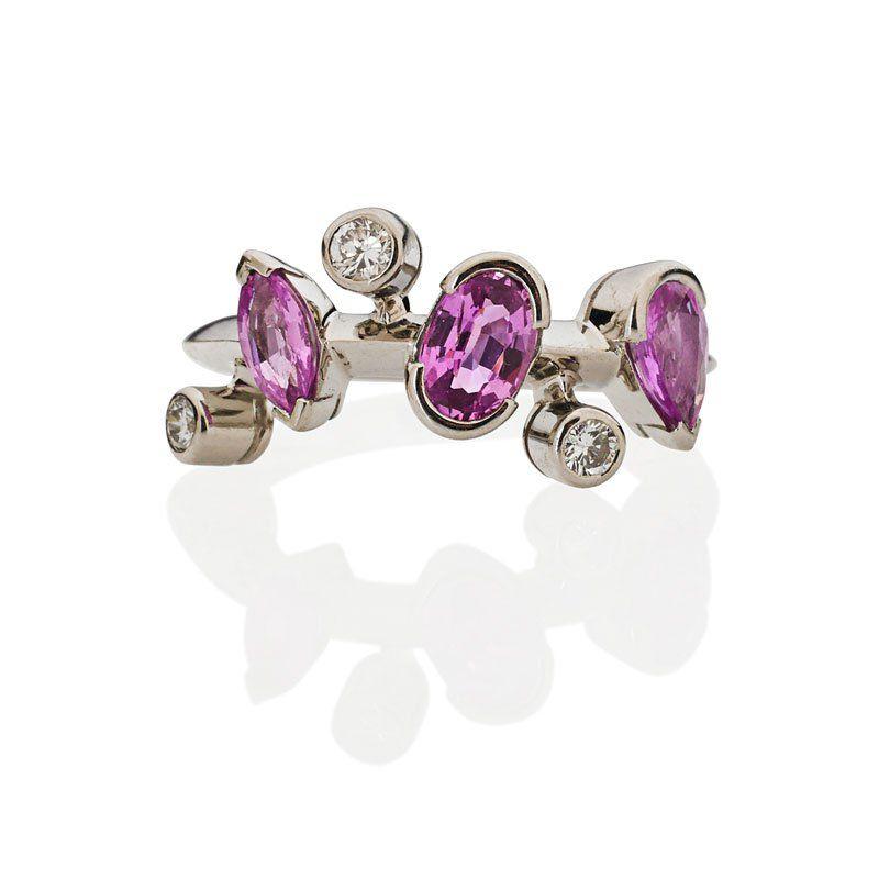 CARTIER MELI-MELO PINK SAPPHIRE, DIAMOND, PLATINUM RING