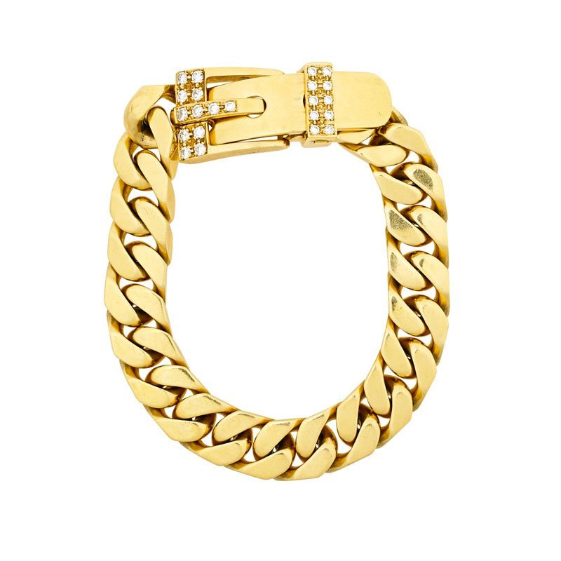 SPITZER & FURMAN 18K GOLD & DIAMOND BELT BRACELET