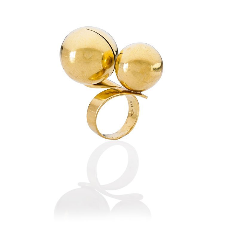 SPACE AGE GOLD BLINKING LIGHT RING, REMO SARACINI