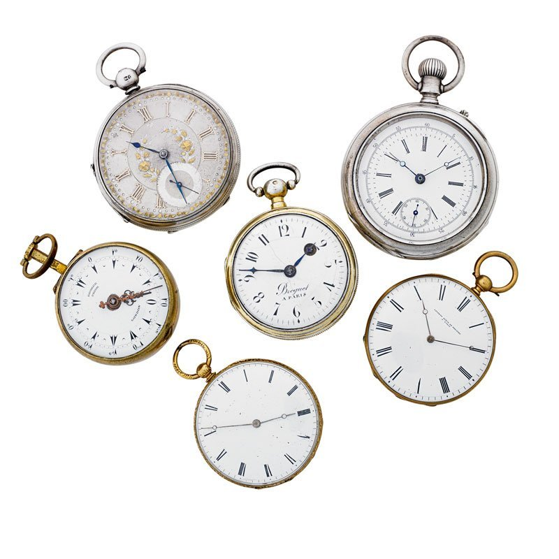 COLLECTION OF SIX ANTIQUE POCKET WATCHES