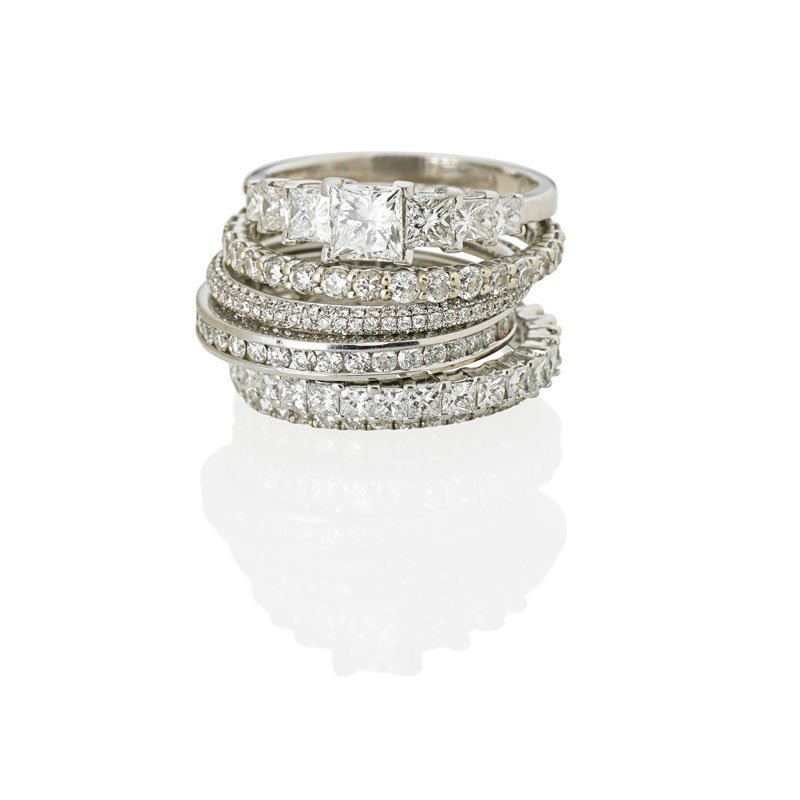 FIVE DIAMOND ETERNITY BANDS & AN ENGAGEMENT RING