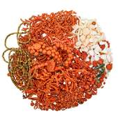 ESTATE COLLECTION OF CORAL ELEMENTS FOR JEWELRY