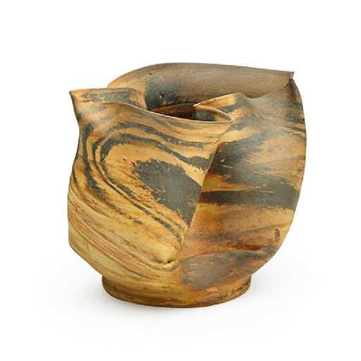 George Ohr Fine Large Scroddled Bisque Vase