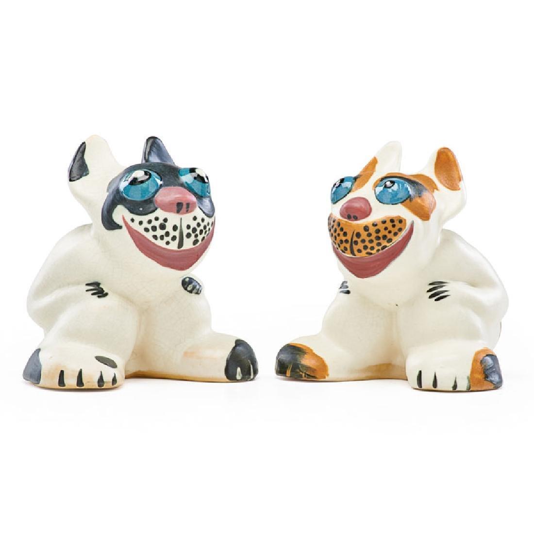 WELLER Two Pop-eye figural dogs