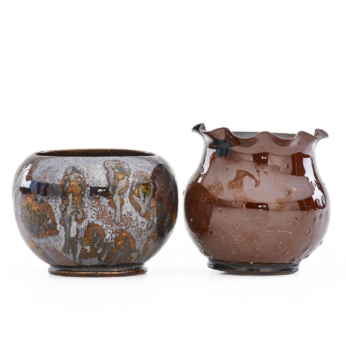 GEORGE OHR Two small vases