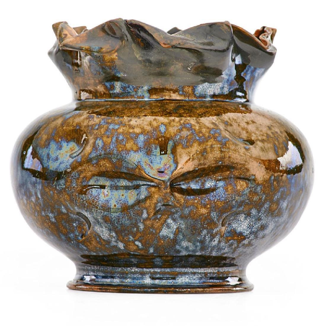 GEORGE OHR Large face vase with ruffled rim