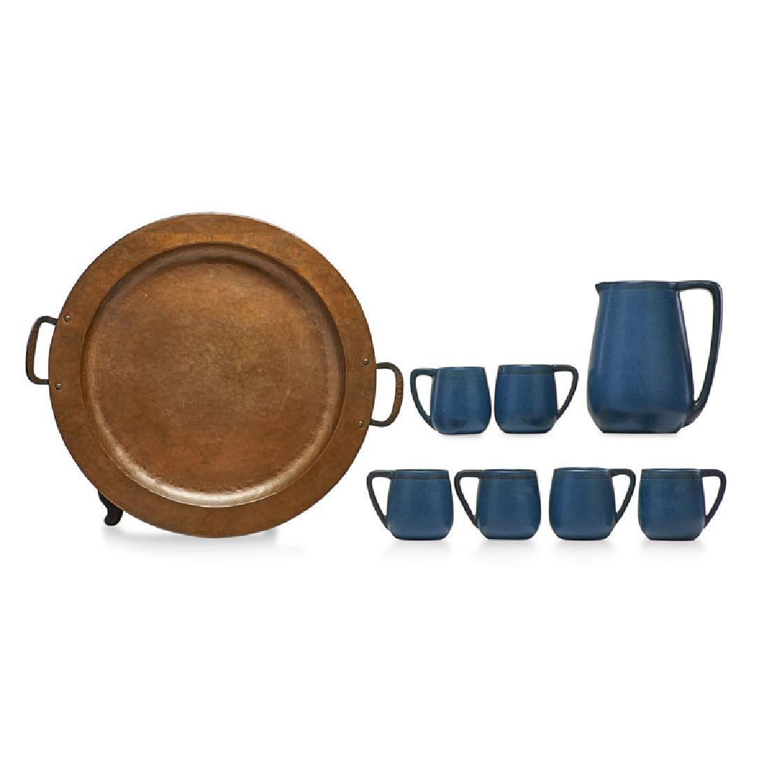 MARBLEHEAD; GUSTAV STICKLEY Pitcher and mugs, tray