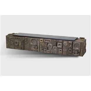 PAUL EVANS Important Sculptured Metal cabinet
