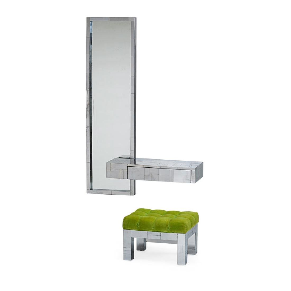 PAUL EVANS Cityscape mirror, console, and stool