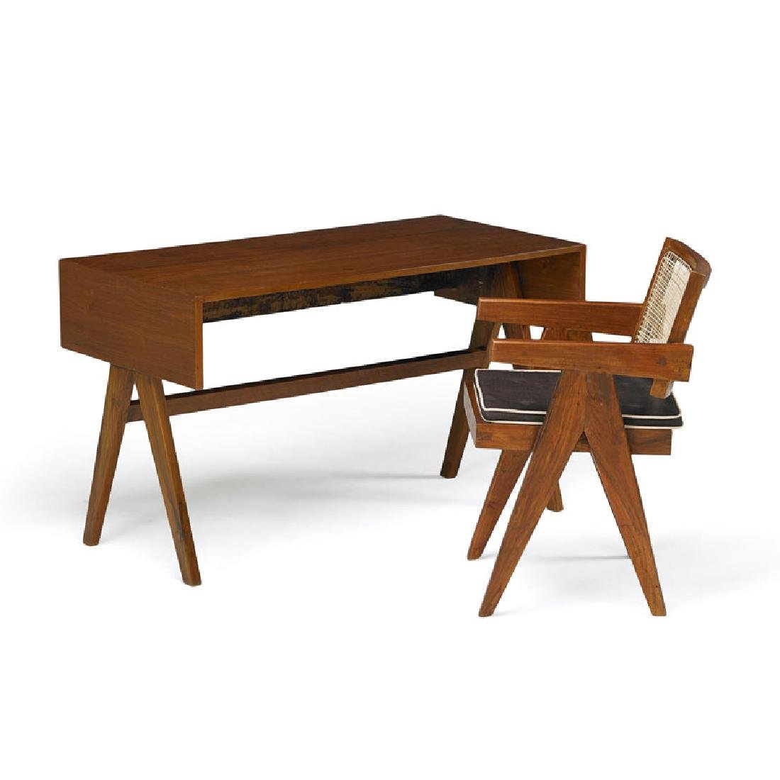 PIERRE JEANNERET Student desk and armchair