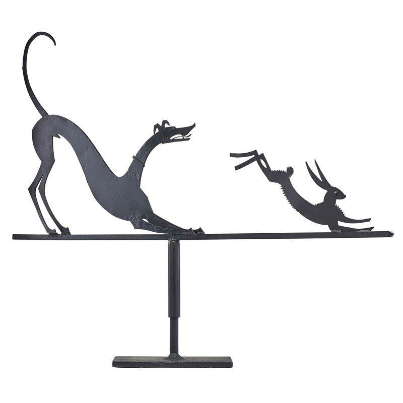 WILLIAM HUNT DIEDERICH Hound and Hare weathervane