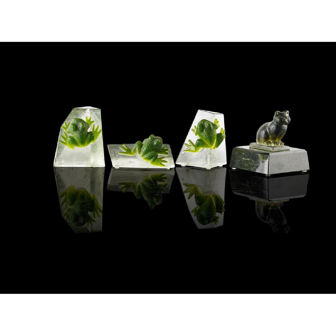 MARGIT TOTH Four glass sculptures, frogs and cat - 2