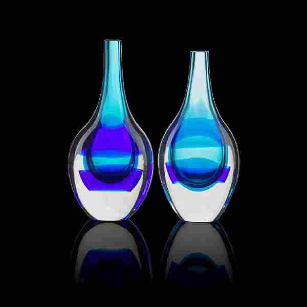 LUCIANO GASPARI; SALVIATI Two Sommerso glass vases