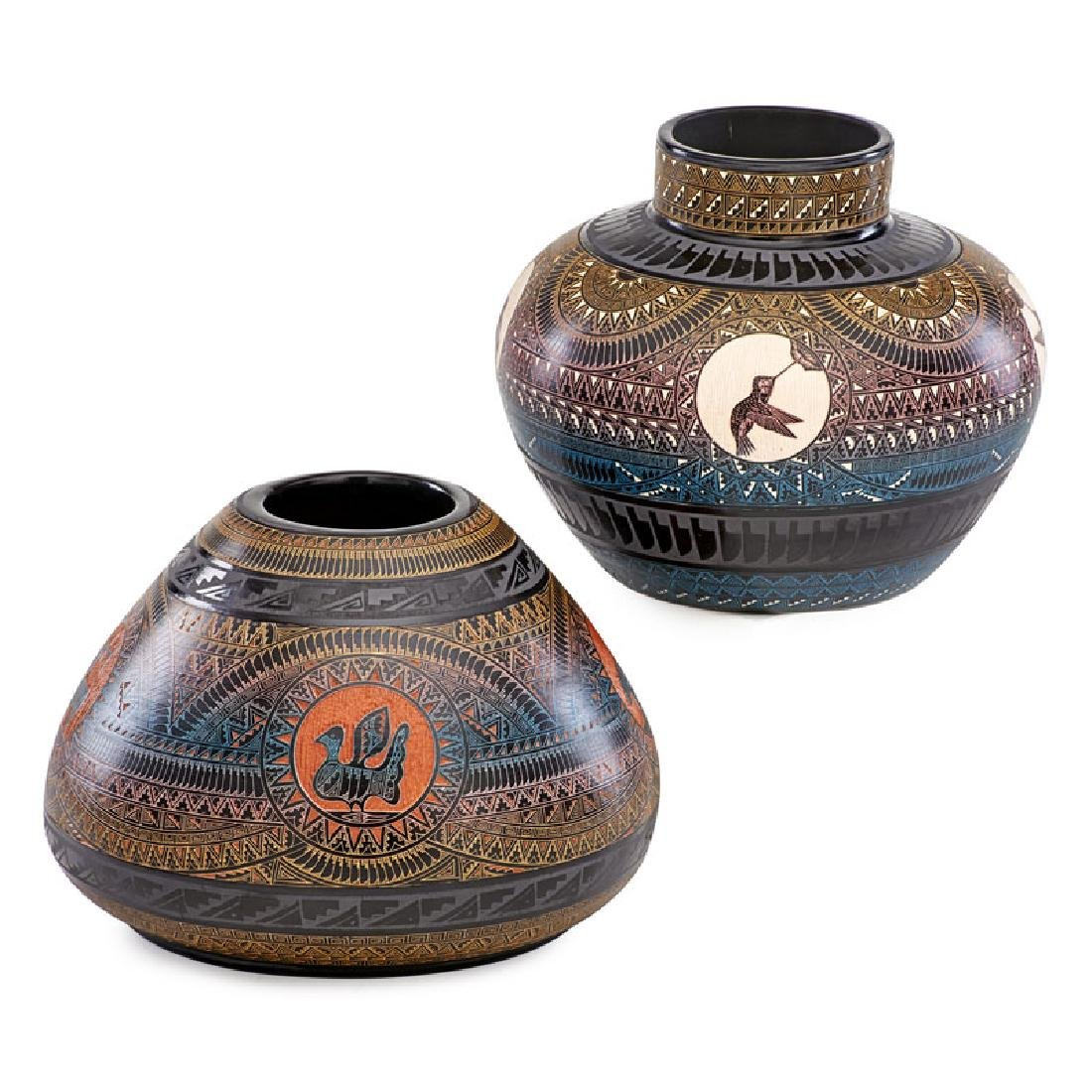 MARVIN BLACKMORE Two hand-etched vases