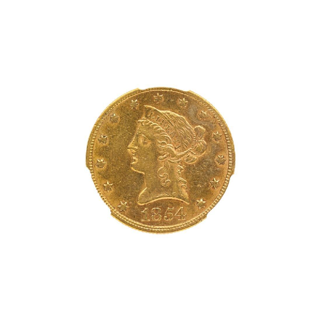 1854 $10.00 LIBERTY HEAD GOLD COIN