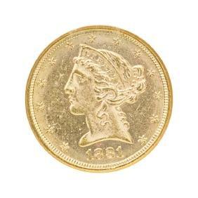U.S. 1881 $5.00 LIBERTY HEAD GOLD COIN