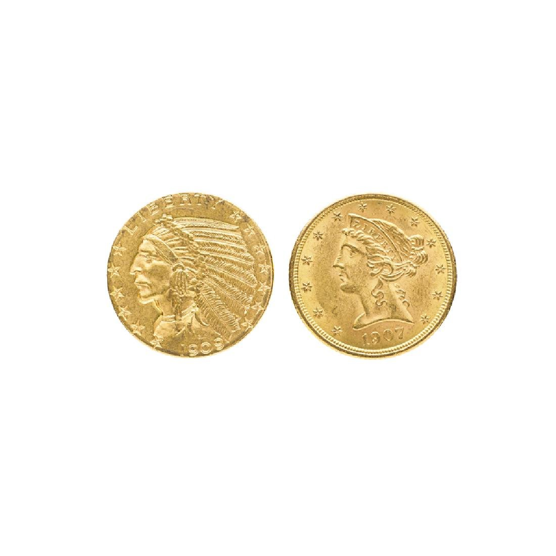 U.S. $5.00 GOLD COINS