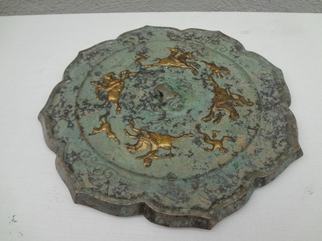 Rare Tang Dynasty Gilt Bronze Mirror with Horseman
