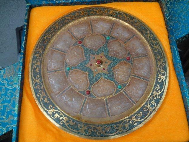 Tang Dynasty Gilt Bronze Mirror with Precious Stones