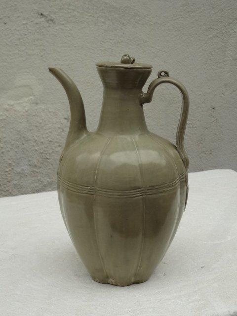 Imperial Song Dynasty 'Secret Glaze' Melon Shape Ewer