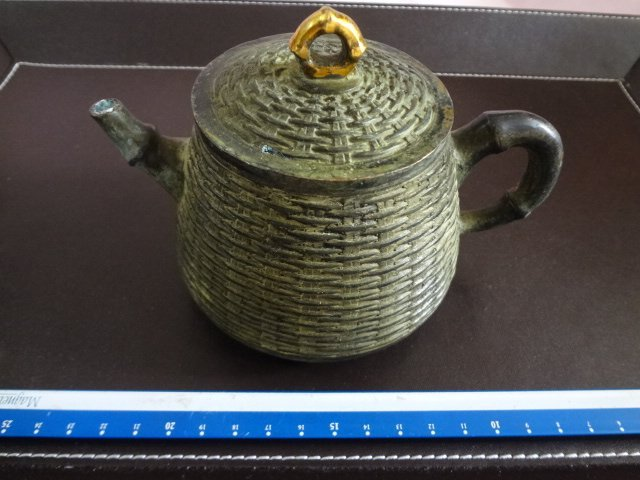 Chinese antique gilt on iron teapot