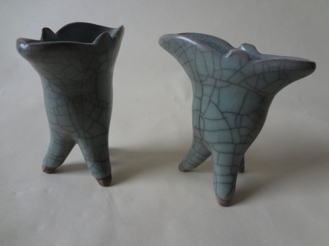 Pair of Chinese Celadon Tripod Wine Cup 'Jue'