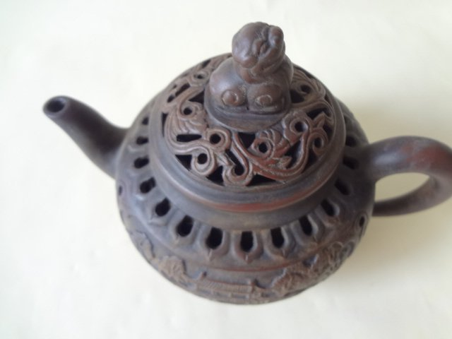 An Exquisite Hollow Carved Double Wall Yi-xing Teapot