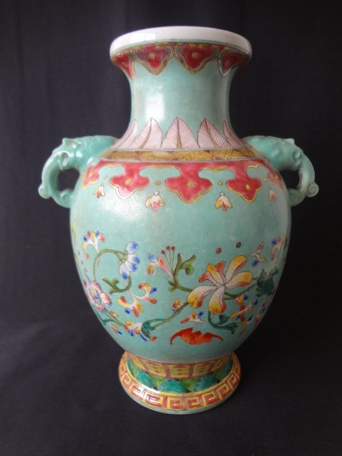 Qing Dynasty Famille Rose Incised Foliage Vase