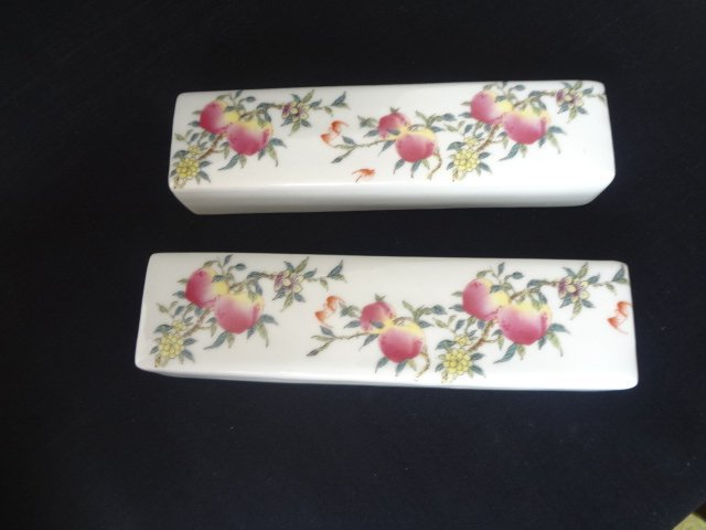 Pair of Famille Rose Peach and Bat Paper Weights