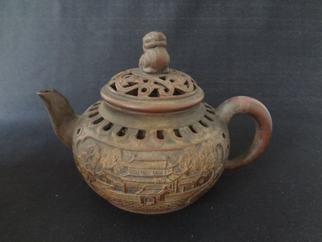 Double-wall Yixing Teapot with Foodog Finial