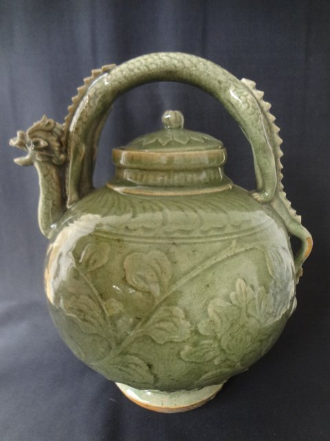 Ming Dynasty Longquan Dragon Teapot (with Authenticity
