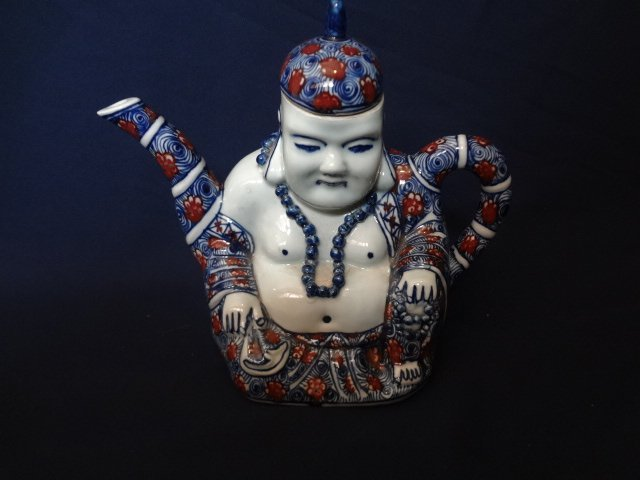 Qing Dynasty Underglaze Blue and Red Buddha Teapot
