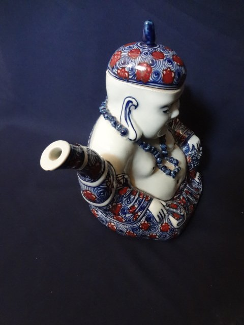 Qing Dynasty Underglaze Blue and Red Buddha Teapot - 4