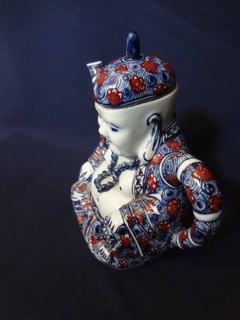 Qing Dynasty Underglaze Blue and Red Buddha Teapot - 5
