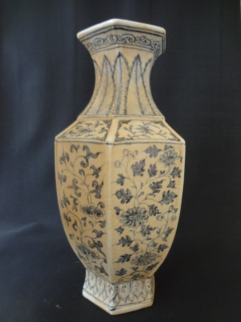 Yuan Dynasty Hexagonal Vase with Flowers