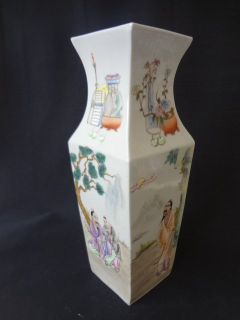 Republic Period Famille Rose Square Vase