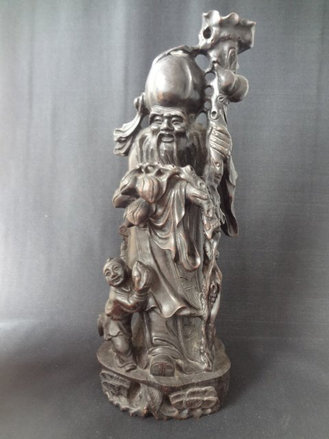 Hard Wood Carving of the Figure of Longevity