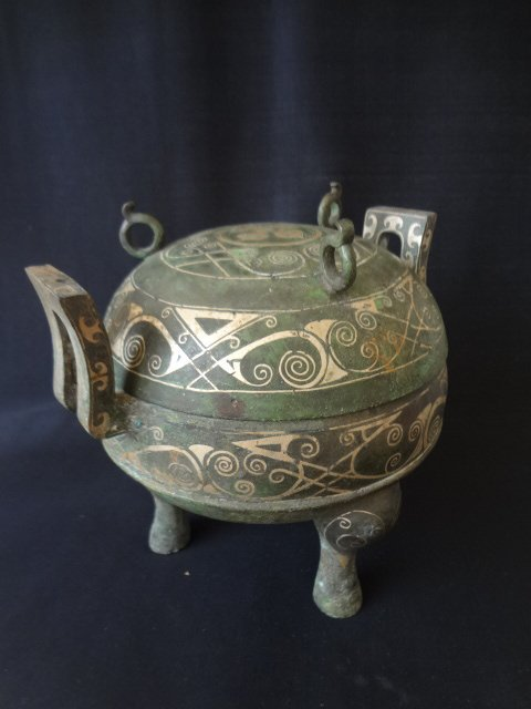 Han Dynasty Bronze Food Container with Silver Inlaid