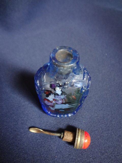 Reverse Painting Blue Beijing Glass Snuff Bottle