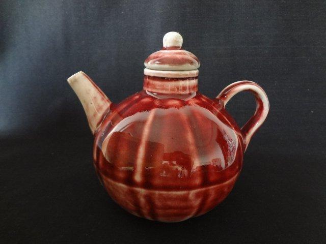 $8 Ming Dynasty Pumpkin Shape Underglaze Red Teapot