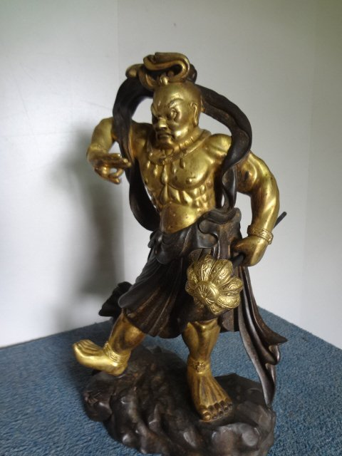 Antique Gilt Bronze Figure of Chinese God