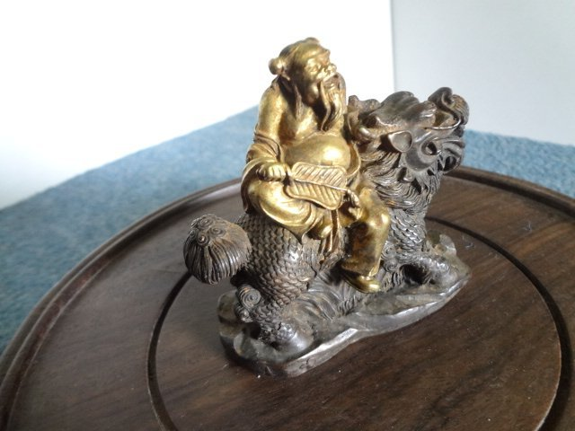 Gilt Bronze Immortal Figure with qilin