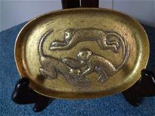 Elegant Imperial Qing Dynasty Gilt Bronze Monkey Plate