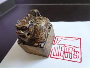 Carved  Dragon Tortoise Shape Seal of Qi Bai-shi