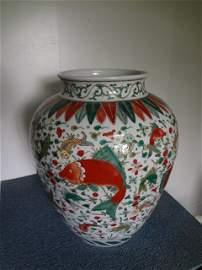 Gigantic  Ming Dynasty Wanli Period Wucai Fish Guan