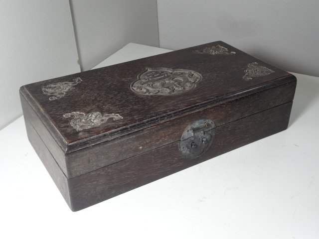 Qing Dynasty Zitan Wooden Box with Bat & Coin